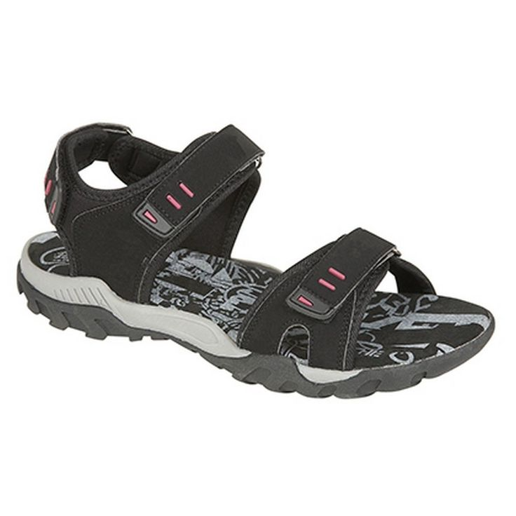 PDQ Womens/Ladies Toggle & Touch Fastening Sports Sandals (8 US) (Black). Touch Fastening Halter Back Sports Sandal. Synthetic Nubuck Upper. Textile Lining. Suede Sock. TPR Sole.