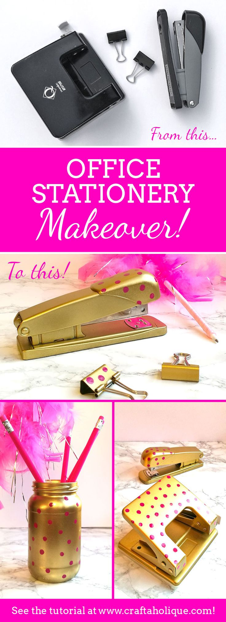 Make your stapler happy! Makeover your office stationery using spray paint and nail polish. See this craft project over at Craftaholique!