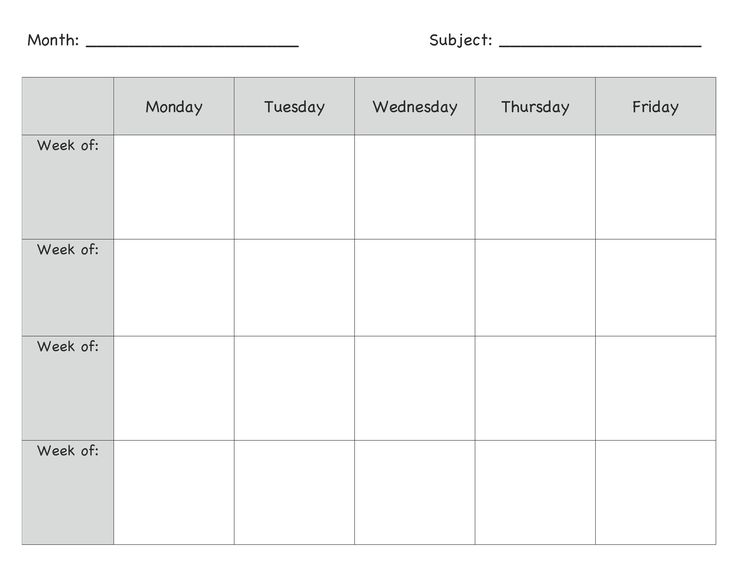 Monthly Lesson Plan Template                                                                                                                                                                                 More