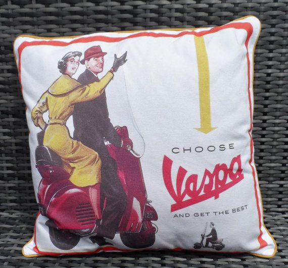 Scooter Cushion Vespa moped pillow in a retro advertising