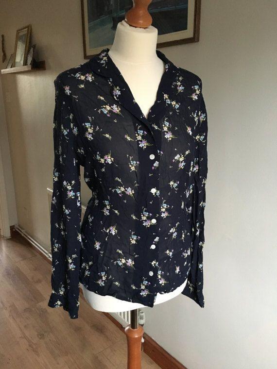 Vintage Laura Ashley floral blouse  UK size 16  dark blue