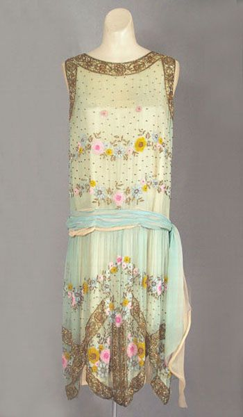 French beaded silk chiffon dress c.1924, from the Vintage Textile archives.