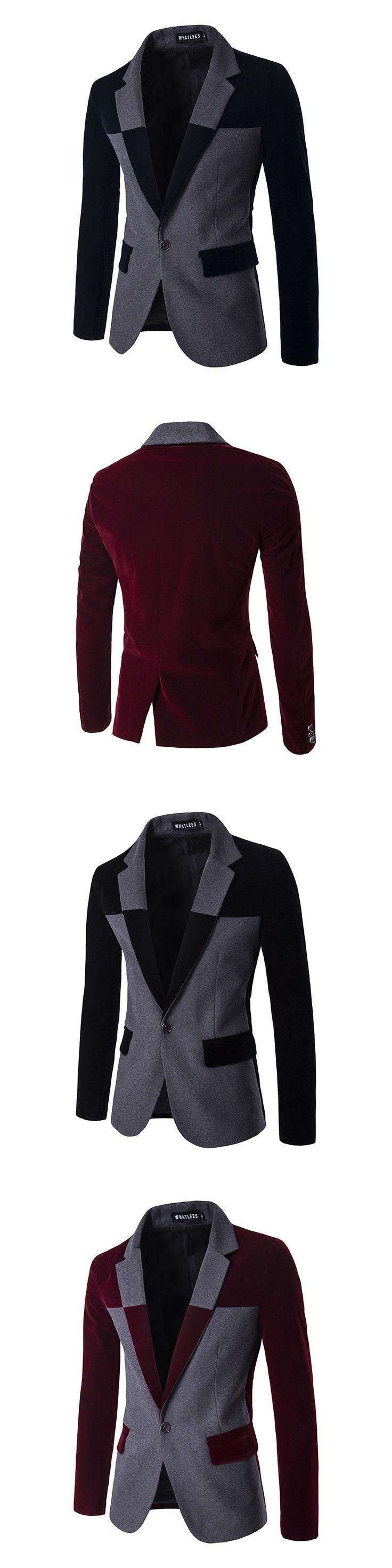 Mens Velvet Blazer 2017 New Arrival One Button Blazer Men Casual Slim Fit Stylish Mens Suit Jacket Costume Homme Wine Red XXL