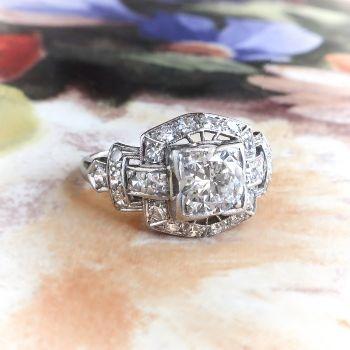 Simple Art Deco Diamond Ring Circa us ct t w Vintage Old Transitional Cut Diamond Engagement Wedding