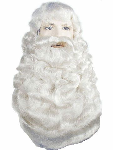 Supreme Santa Wig and Beard Set - Santa's got a brand new wig and beard set this year.This is an extremely high quality Santa wig and beard set. The wig and beard are a beautiful white color, and are both netted inside, holding the hair in together in the perfect spot for a great Santa look. The wig has a size adjuster inside, and the beard has a nice Chin strap, and head strap to hold the beard in just the right spot. #christmas #santa #yyc #costume #wig