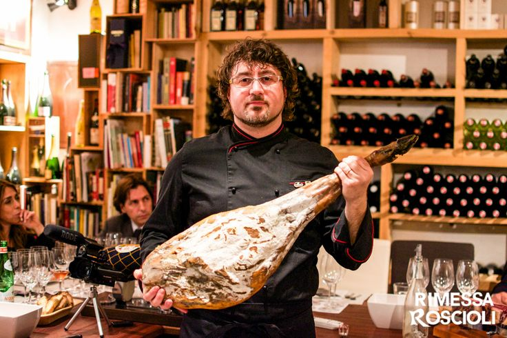 Andrea Cervone. Maestro cortador of Jamon iberico, Andrea Cervone, during the tasting Pata negra & Champagne, taught to everyone the secrets of the ham, including the art of cutting Pata negra, with mastering skills.