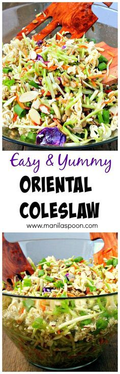 Very easy and tasty salad to make - ramen noodles, almonds and sunflower seeds provide the crunch and the dressing is quite tasty. You can't go wrong with this Oriental / Asian Coleslaw. Perfect for picnics and potlucks, or any gathering!