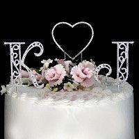 Roman Swarovski Crystal Initials & Heart Wedding Cake Topper Set
