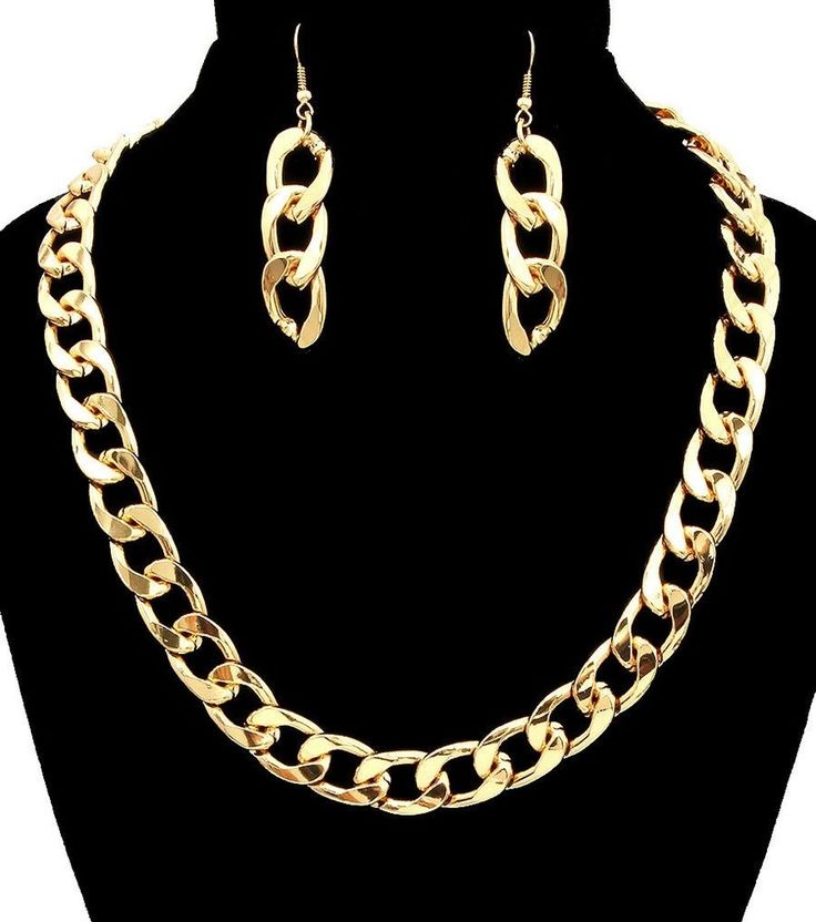 #HappyTBT #PieceOFTheDay!♥♥♥#Gold SIMPLE LINK CHAIN #HIPHOP Statement Necklace & Earrings SET Metal THICK #CelebrityInspired #SilverSIMPLELINKCHAINNecklaceEarringsSET #FemaleFunk #Jewelry!♥♥♥