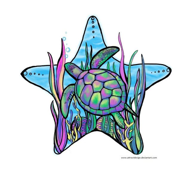 Rainbow Sea Turtle - Tattoo Design Ideas