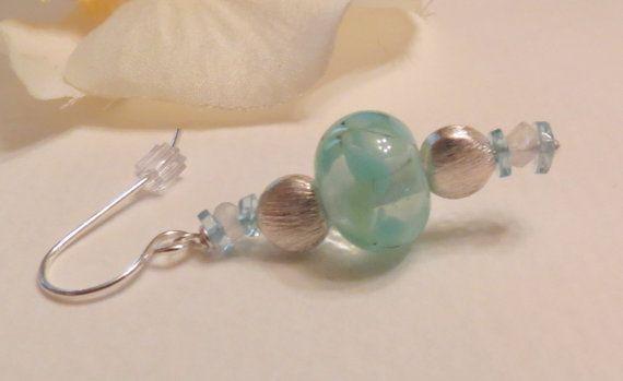 Dangle Earrings Handmade Lampwork Bead Apatite and by Smokeylady54