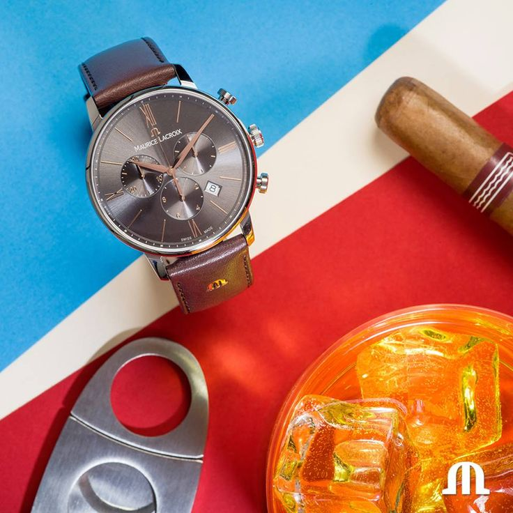 Pair up your fancy cocktail with an elegant timepiece #mauricelacroix #timepiece #watches #cigar #cocktail