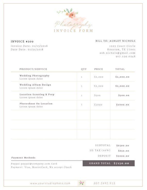 Invoice Template Invoice Design Receipt Photography Invoice Etsy In 2021 Photography Invoice Photography Invoice Template Invoice Design