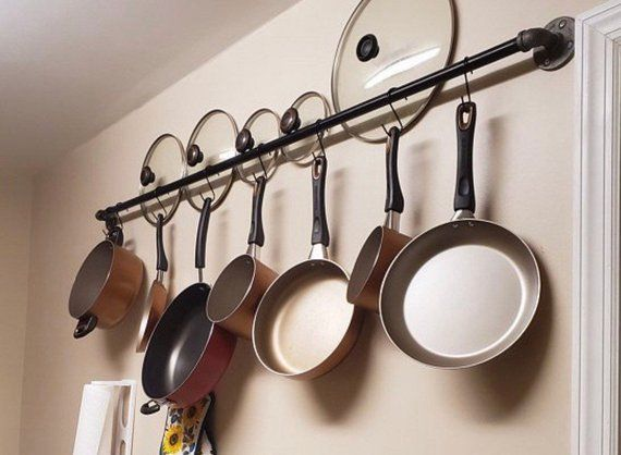 Kitchen Pots And Pans Hanging Wall Storage Hanging Rack Etsy
