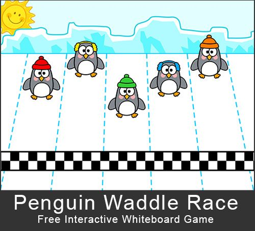 Free - Penguin Waddle Race: A fun, whole class game for the interactive whiteboard, SMARTBoard, Promethian, or Mimio.  www.pinkcatgames.com