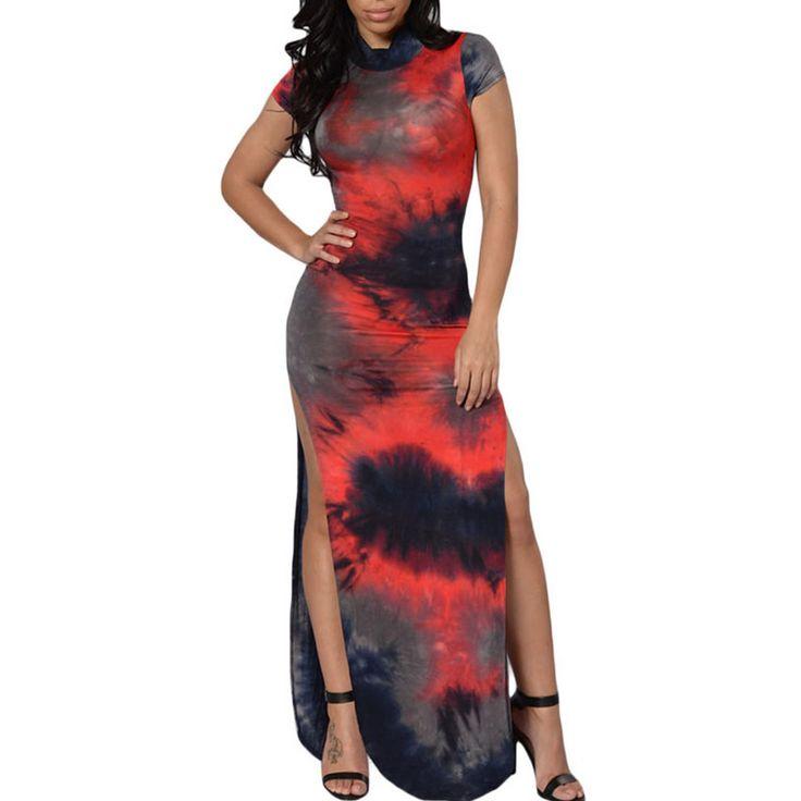 Longo vestidos de festa apertadas vestido africano 2016 abiye vermelho backless do assoalho-comprimento impresso fino vestido da senhora elegent sexy divisão vestido(China (Mainland))