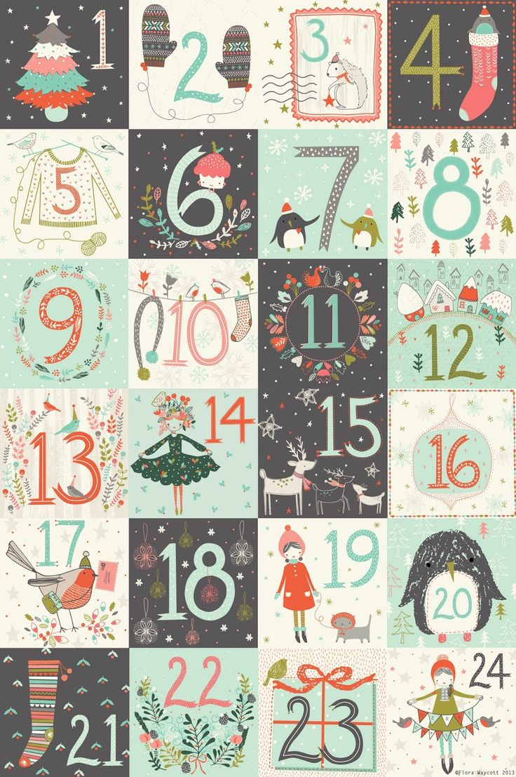 Christmas advent calendar numbers printable and lots of lovely free drawings in there