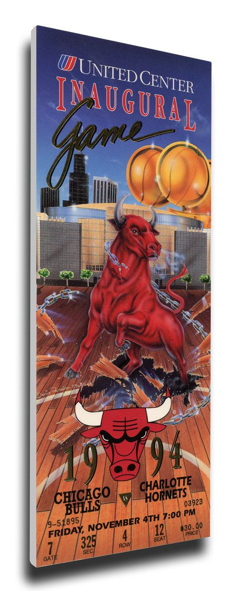United Center Inaugural Game Canvas Mega Ticket - Chicago Bulls
