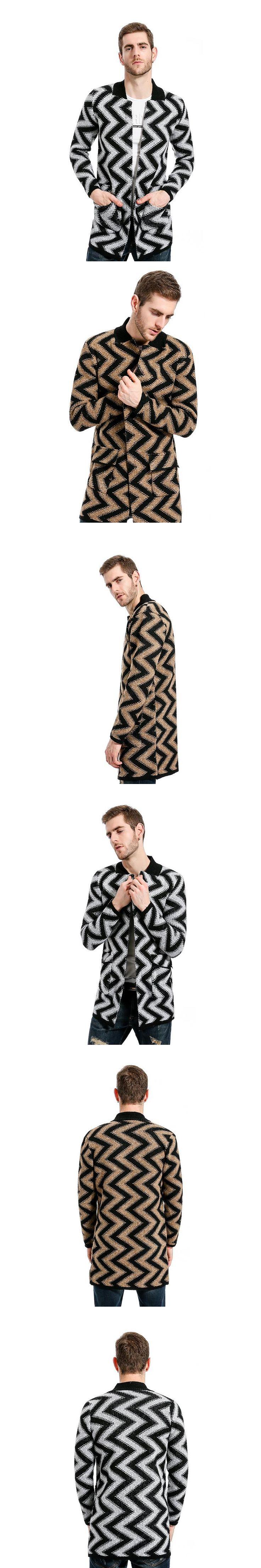Men Striped Long Trench Coat Men Wavy Pattern Designer Stand Collar Jacket Overcoat XXL Slim Fit Male Cardigan Windbreaker