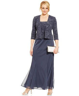 Alex Evenings Sleeveless Glitter Gown and Jacket - Mother of the Bride - Women - Macy's