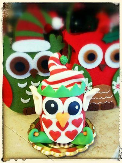 panettoncino decorato gufetto elfo