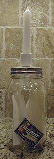 I am SO doing this. Jar of candles that can be kept with your emergency kit for power outages. Inexpensive weekend project.