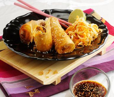 Recept: Kinesiska filodegsrullar med sötsur dippsås