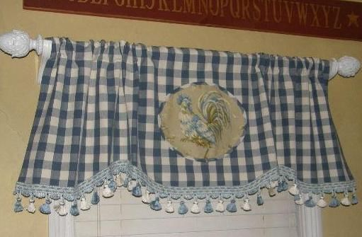 Scalloped valance curtains french country rooster blue buffalo check plaid trim - French country kitchen valances ...