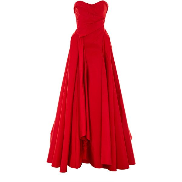 Strapless Silk Gown | Moda Operandi ($9,355) ❤ liked on Polyvore featuring dresses, gowns, corset ball gown, strapless corset, red strapless dress, red corset dress and corset gown