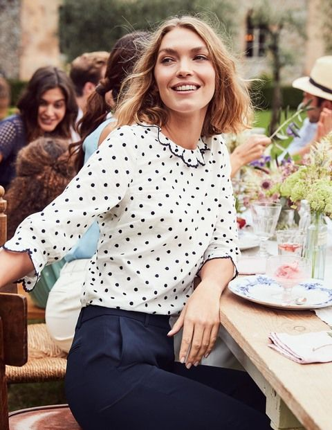We're not fibbing when we say you can wear this blouse with everything. Made from pure cotton with all-over spot embroidery and scalloped detailing, it's as demure as it is playful. A semi-fitted shape, flattering three-quarter-length sleeves and machine-washable cotton add to the versatility.