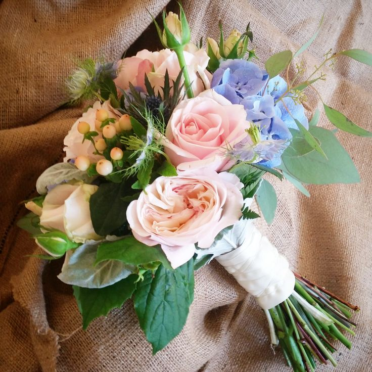Austin roses and hydrangea in a sweet bridal bouquet.