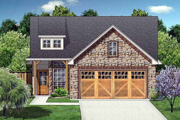 #Craftsman #HousePlan 88634 has 1163 square feet of living space, 3 bedrooms and 2 bathrooms. This charming house plan would be great for a #narrowlot and the floor plan makes great use of space. The exterior is stone, and there is an option for brick siding. Handsome Cedar posts support the front porch.