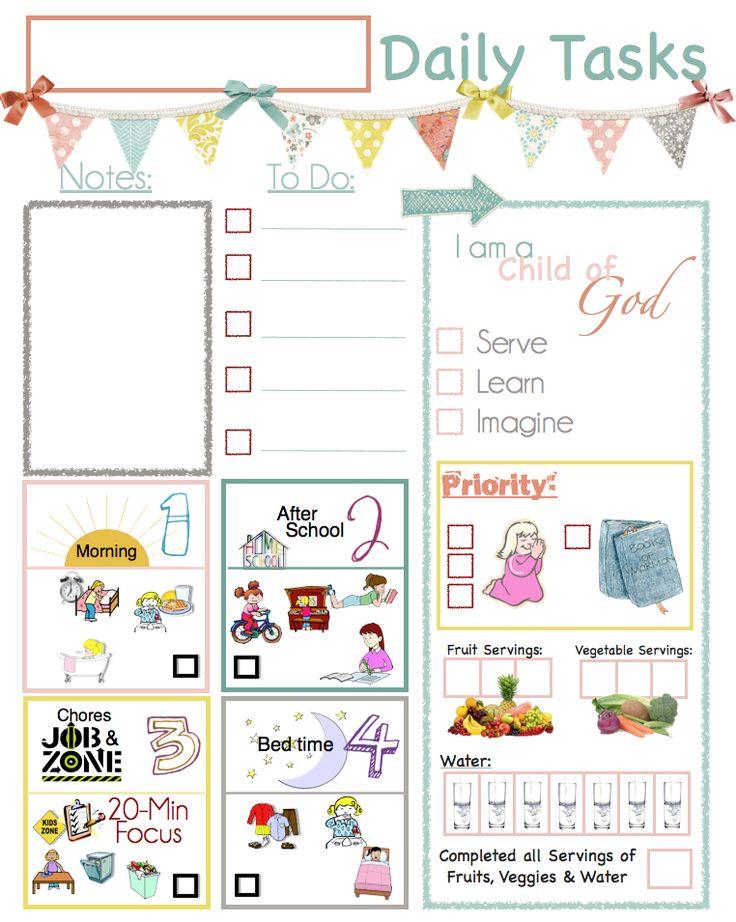 Best 25+ Kids planner ideas on Pinterest Children chore chart - daily task sheet