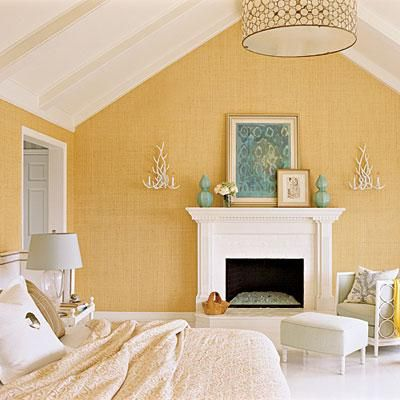 Textured grasscloth walls are a great idea for adding warmth and  relaxed elegance to coastal bedrooms. Coastalliving.com