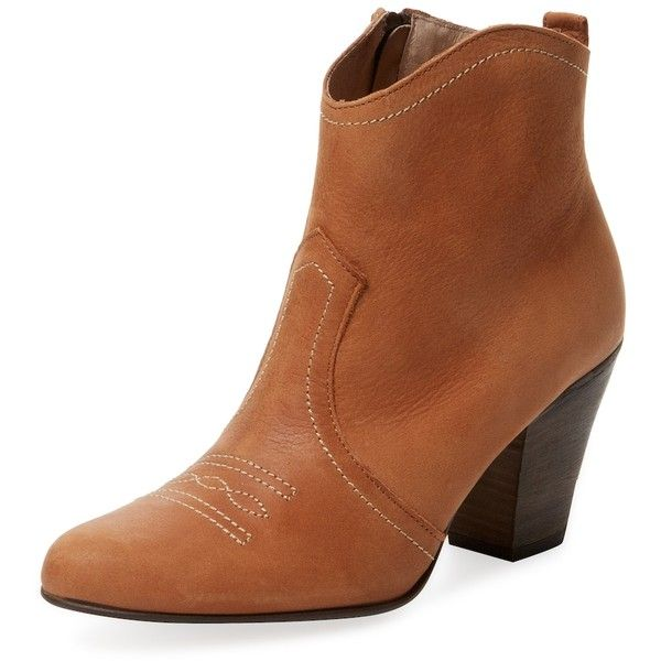Firth Women's Mid Heel Western Bootie - Cognac, Size 8 ($35) ❤ liked on Polyvore featuring shoes, boots, ankle booties, cognac, high heel cowboy boots, short cowgirl boots, western bootie, cowboy boots and high heel boots