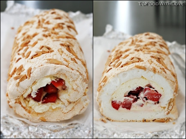 Pavlova Roulade with Strawberries and Mascarpone Cream, from To Food with Love blog.