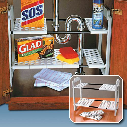 WHITE PLASTIC EXPANDABLE UNDER SINK SHELF | Get Organized  #organizer #bathroom #bathroomorganizer