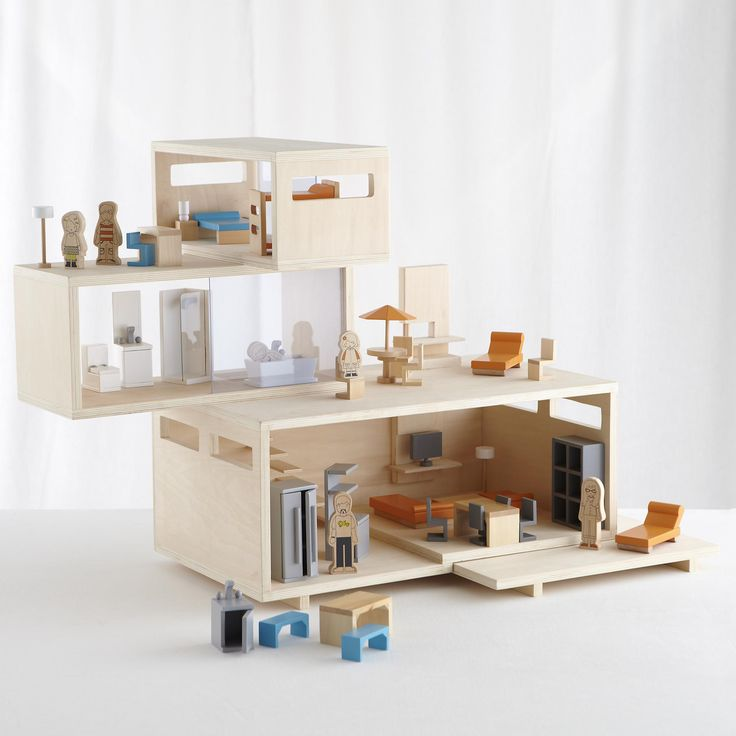 The Land Of Nod Modern Dollhouse And Furniture Set