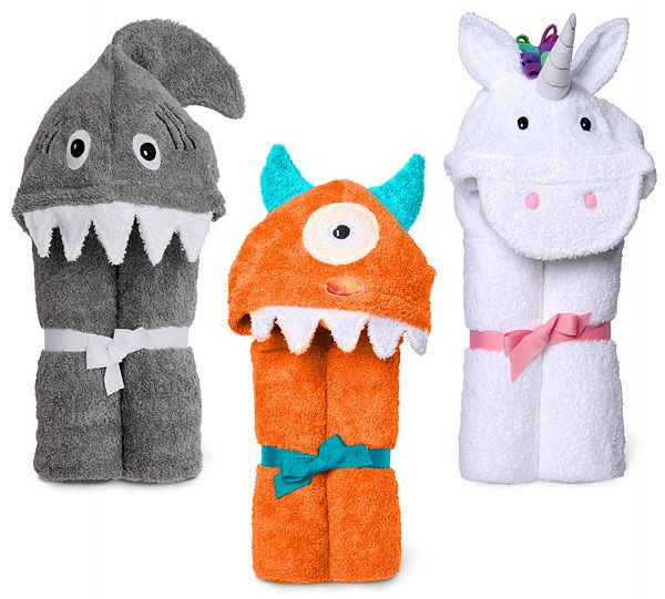 monster, shark and unicorn kids hooded towels - SO CUTE! $39