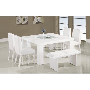 Global Furniture Usa 7 Piece Dining Room Set In White, 1 Dining Table + 2  Benches + 4 Chairs