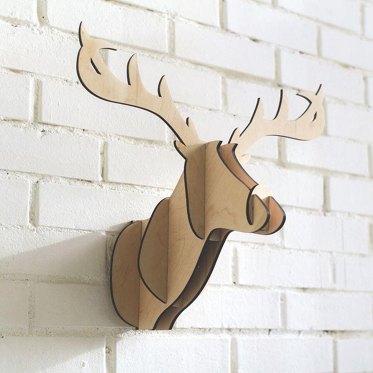 Декоративная голова оленя Junior Wood. Настенный декор. Аусхаус — Хранение. Интерьер. Аксессуары