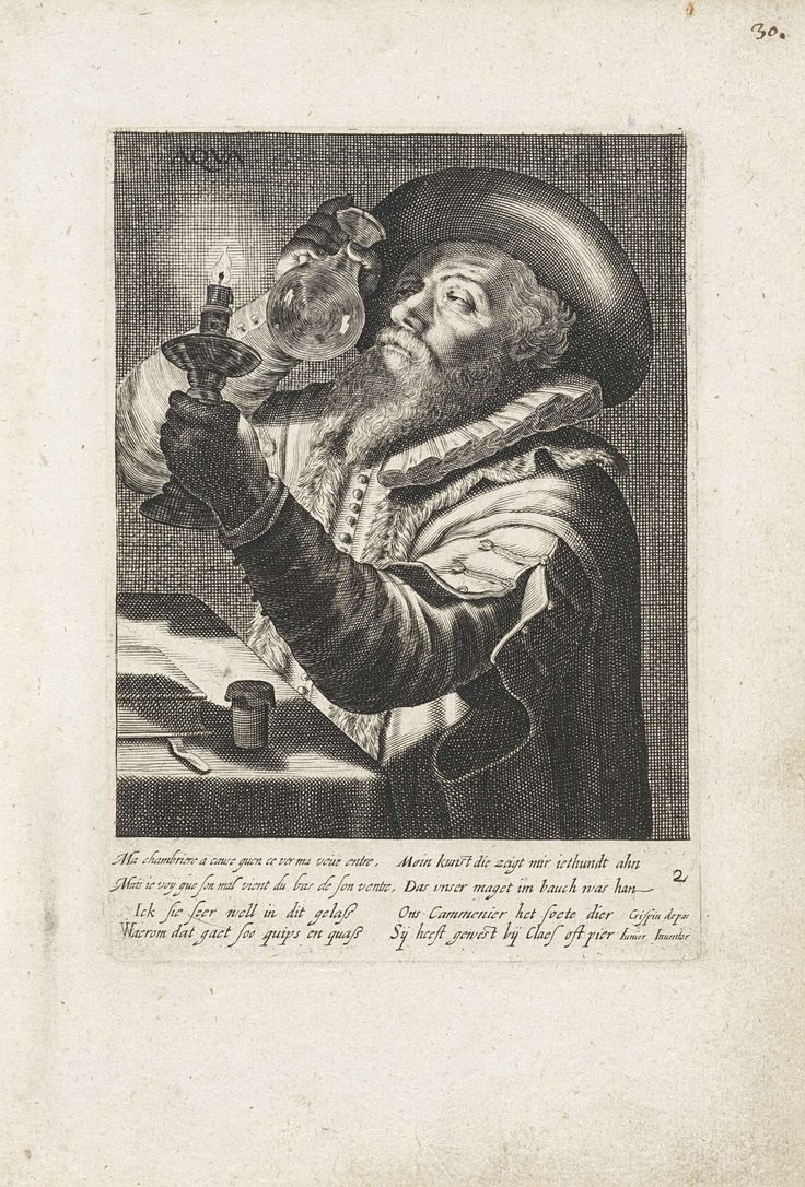 Anonymous | Water, Anonymous, 1613 - 1720 | Een arts met een baard en een flambard kijkt bij kaarslicht in een urinaal. Voor hem een tafel waarop een boek en een pot. Onder een tweeregelig onderschrift in het Frans en Duits en een vierregelig onderschrift in het Nederlands.