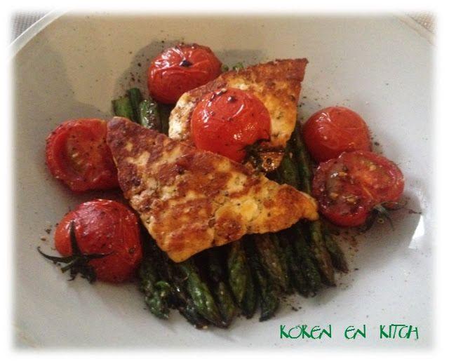 Koken en Kitch: Gebakken haloumi met groene asperges en kerstomaat...