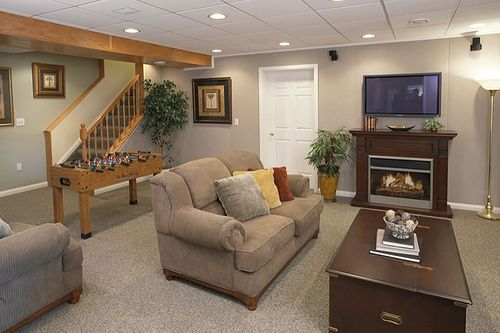 I love how bright this basement remodel is!