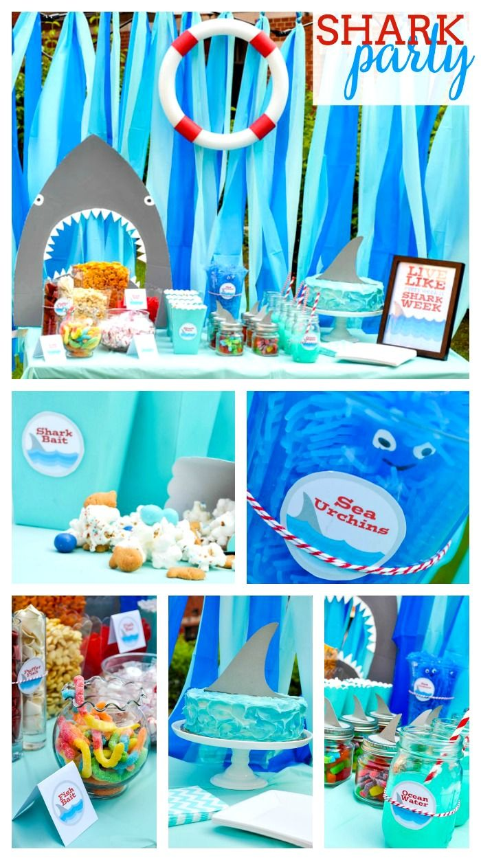 Shark Pool Party Ideas ethans shark swim party catchmypartycom Shark Party Ideas