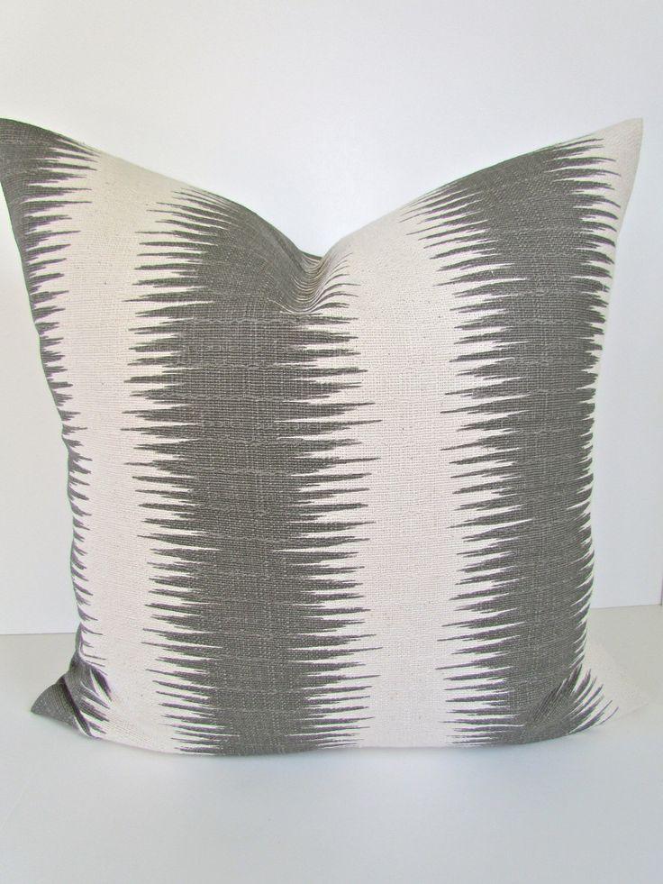 gray pillows grey throw pillows gray pillow striped gray decorative throw pillows ikat pillow 22 24x24