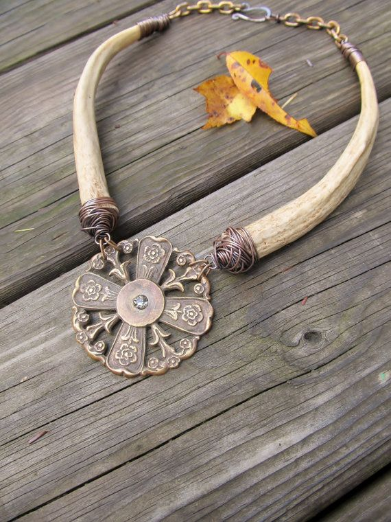 Deer Antler Necklace Rustic Bib Necklace by daniellerosebean, $225.00