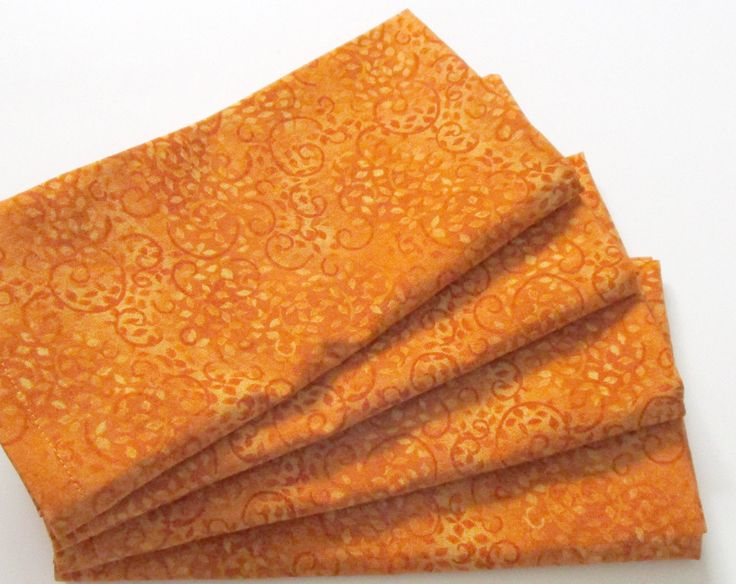 Large Cloth Napkins - Set of 4 - Orange Leaves and Spirals - Everyday, Dinner, Table, Wedding by ClearSkyHome on Etsy