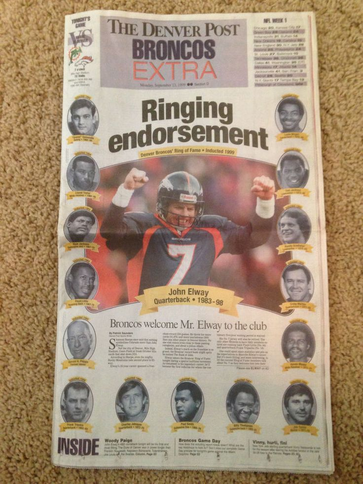 1999 John Elway Denver Broncos Ring of Fame Induction - Denver Post full paper #DenverBroncos