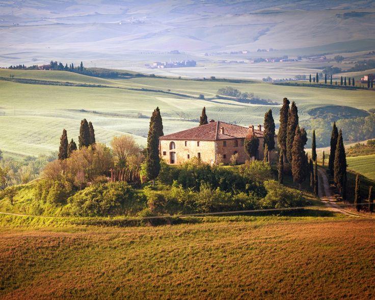 италия, тоскана, лето, сельская местность, пейзаж, природа, деревья, небо, зеленые поля